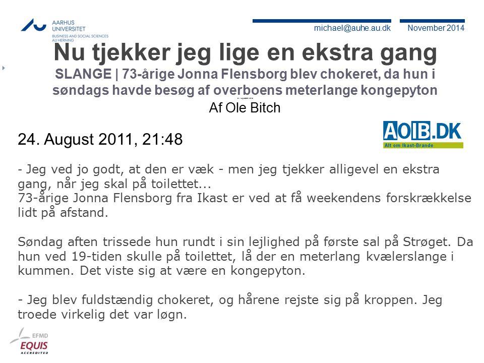 Nu tjekker jeg lige en ekstra gang SLANGE | 73-årige Jonna Flensborg blev chokeret, da hun i søndags havde besøg af overboens meterlange kongepyton 24. August 2011, 21:48 Af Ole Bitch