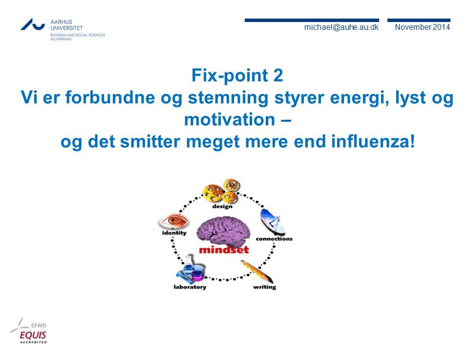 Fix-point 2 Vi er forbundne og stemning styrer energi, lyst og motivation – og det smitter meget mere end influenza!