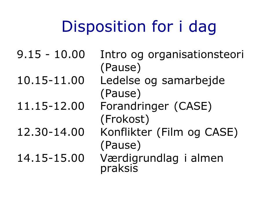 Disposition for i dag 9.15 - 10.00 Intro og organisationsteori (Pause)