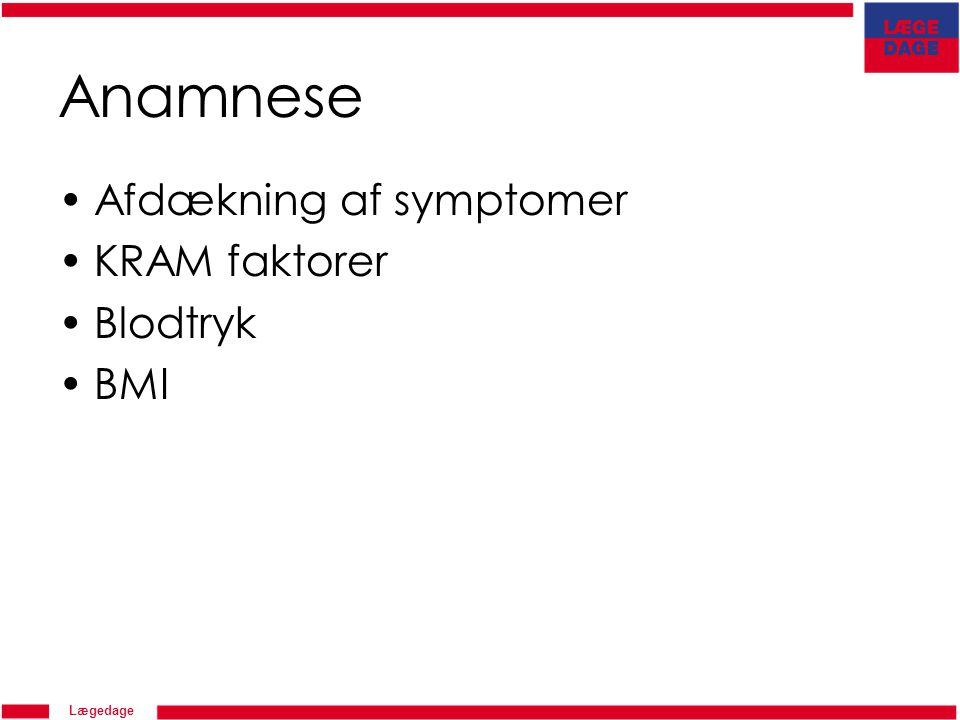 Anamnese Afdækning af symptomer KRAM faktorer Blodtryk BMI