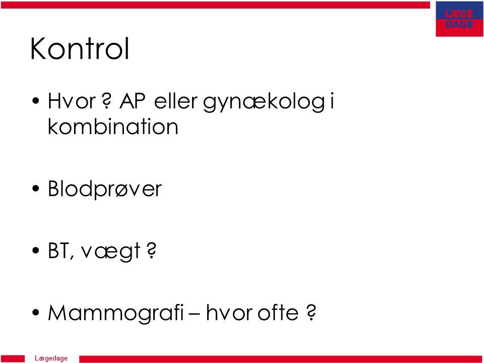 Kontrol Hvor AP eller gynækolog i kombination Blodprøver BT, vægt