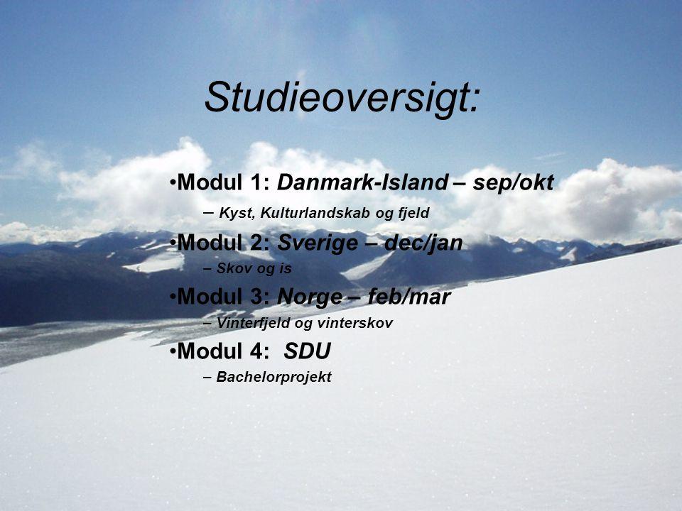 Studieoversigt: Modul 1: Danmark-Island – sep/okt