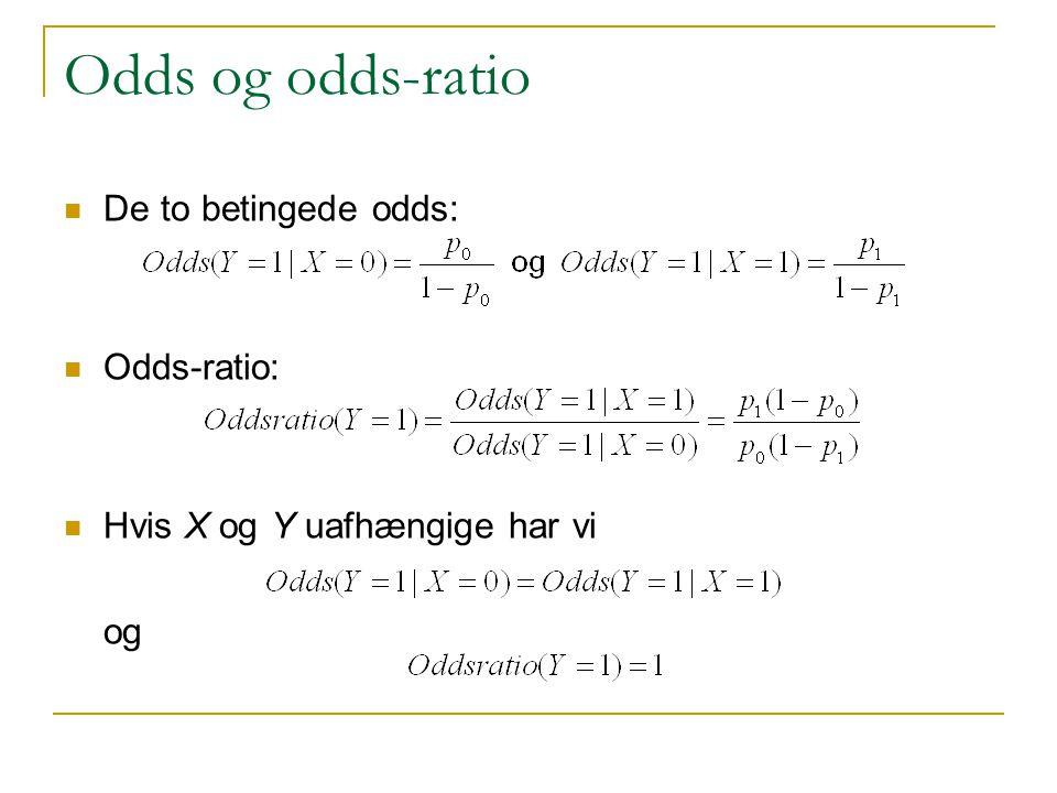Odds og odds-ratio De to betingede odds: Odds-ratio: