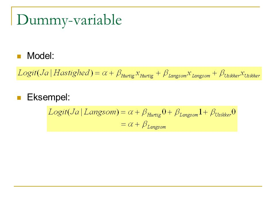 Dummy-variable Model: Eksempel: