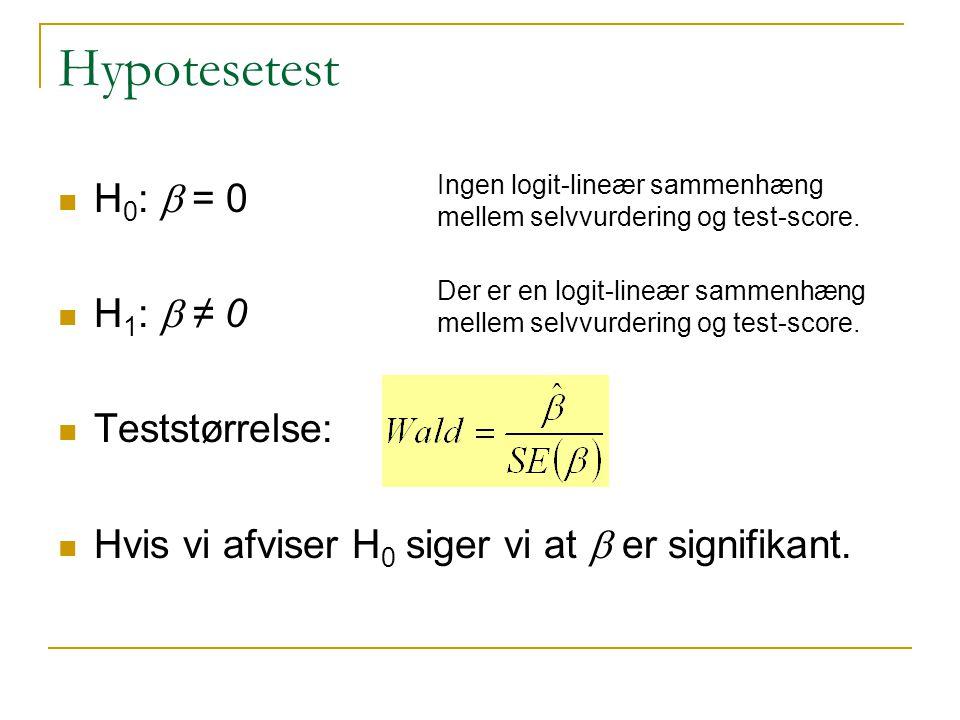 Hypotesetest H0: b = 0 H1: b ≠ 0 Teststørrelse: