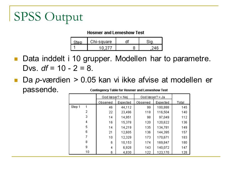 SPSS Output Data inddelt i 10 grupper. Modellen har to parametre. Dvs. df = 10 - 2 = 8.