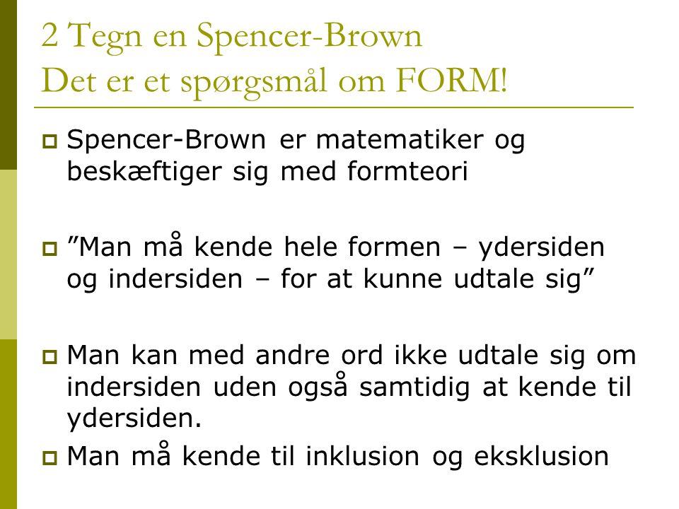 2 Tegn en Spencer-Brown Det er et spørgsmål om FORM!