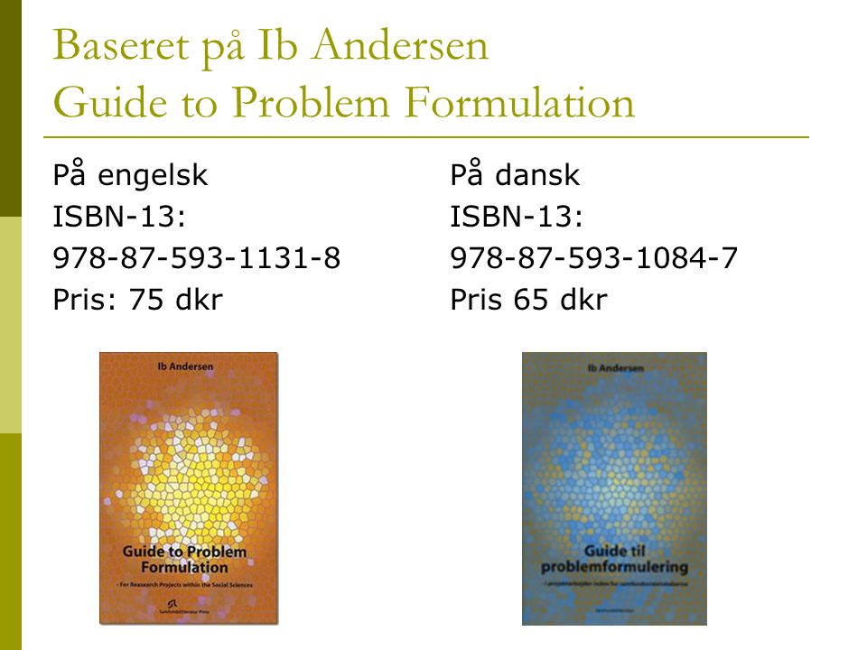Baseret på Ib Andersen Guide to Problem Formulation