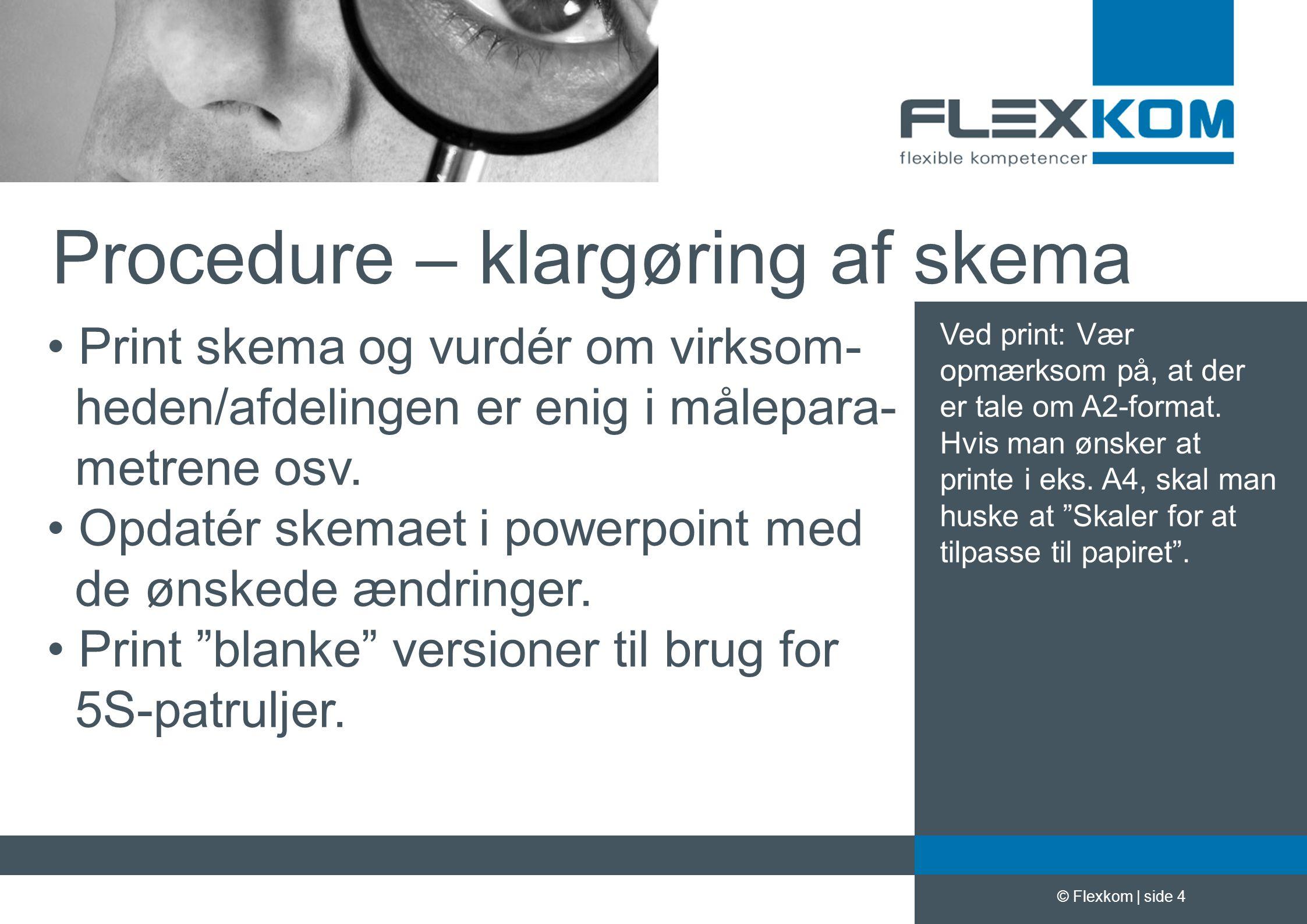 Procedure – klargøring af skema