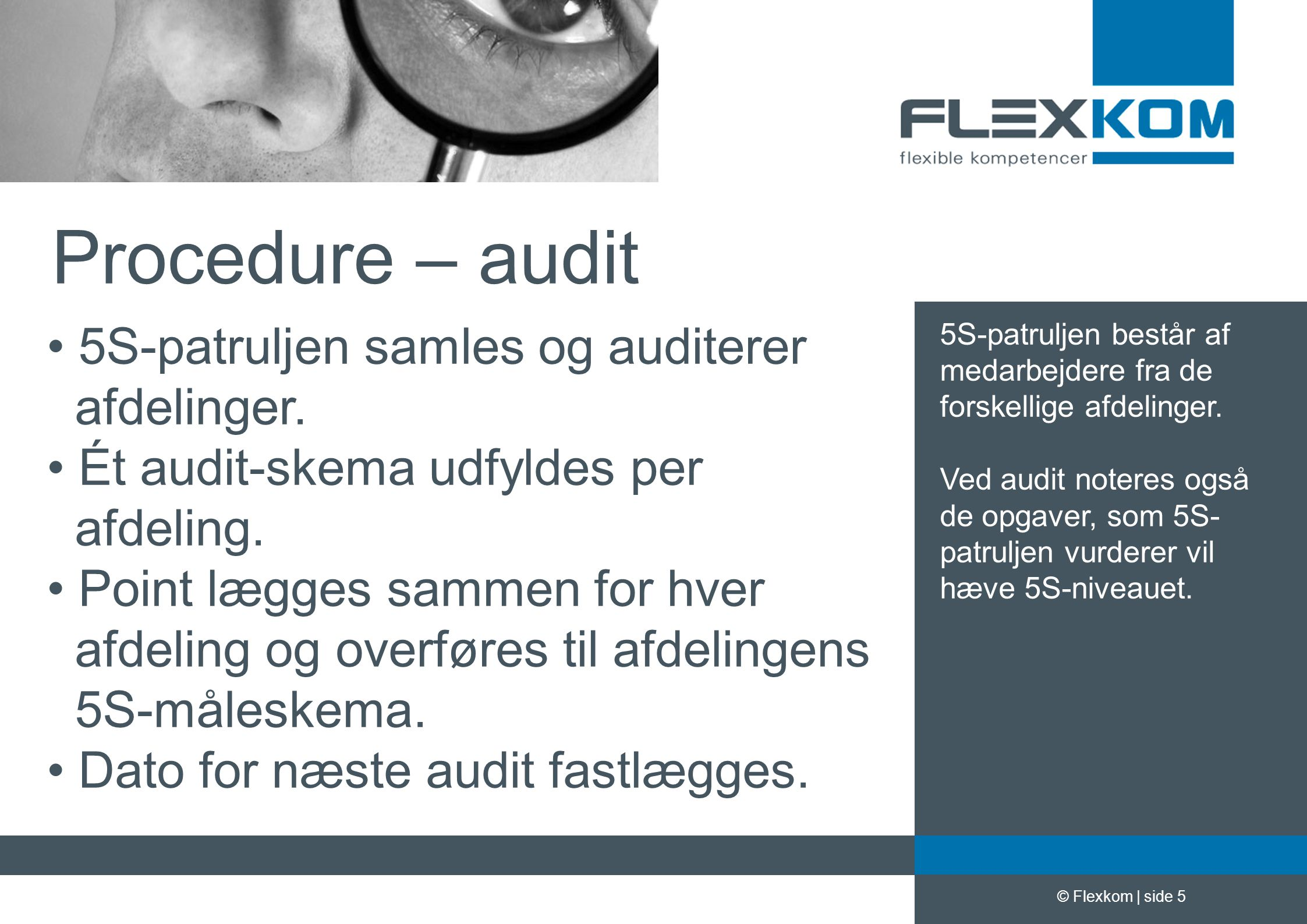 Procedure – audit 5S-patruljen samles og auditerer afdelinger.