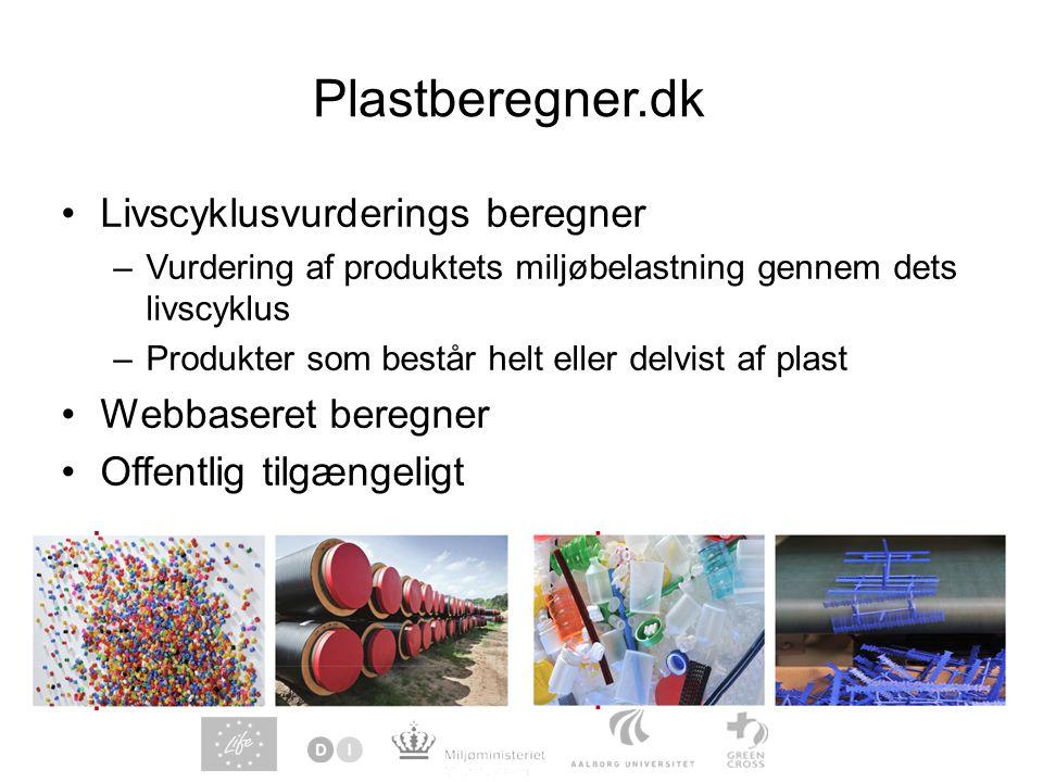 Plastberegner.dk Livscyklusvurderings beregner Webbaseret beregner