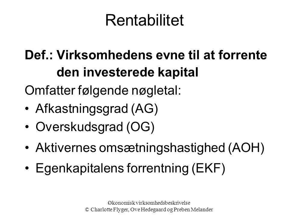 Rentabilitet Def.: Virksomhedens evne til at forrente