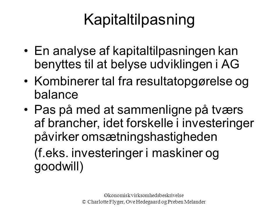 Kapitaltilpasning En analyse af kapitaltilpasningen kan benyttes til at belyse udviklingen i AG. Kombinerer tal fra resultatopgørelse og balance.