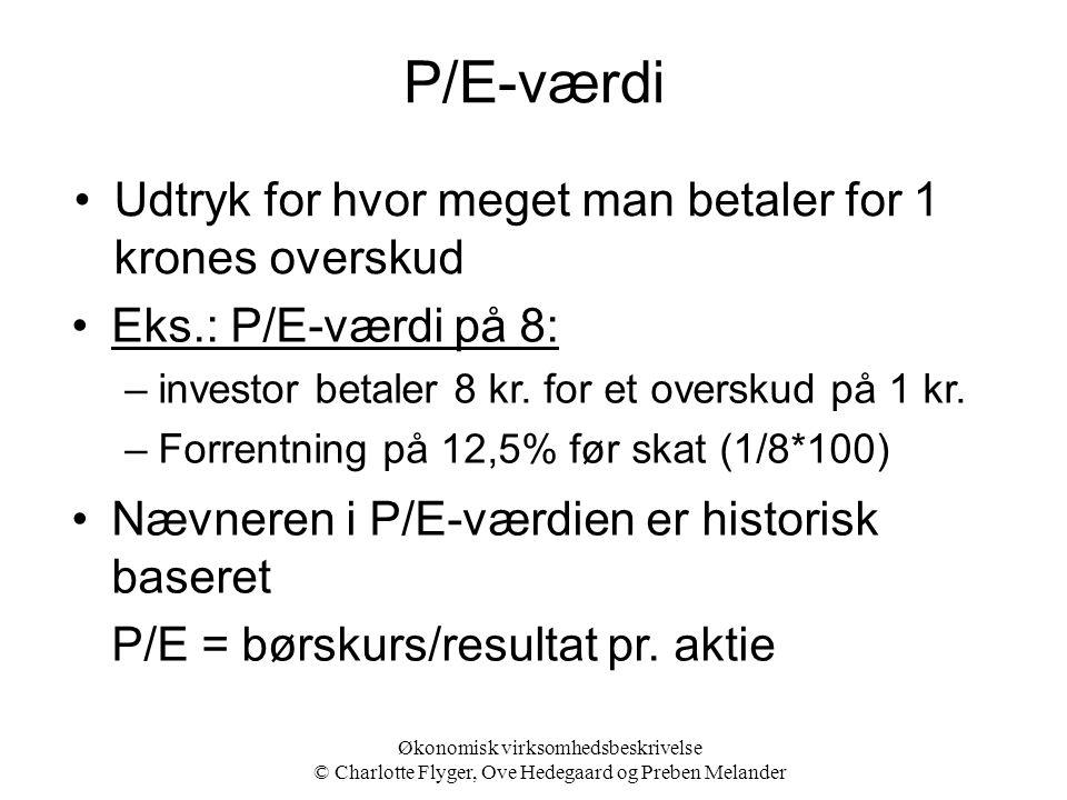 P/E-værdi Udtryk for hvor meget man betaler for 1 krones overskud