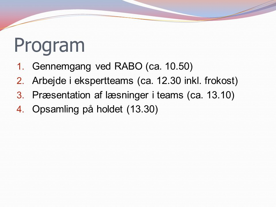 Program Gennemgang ved RABO (ca. 10.50)