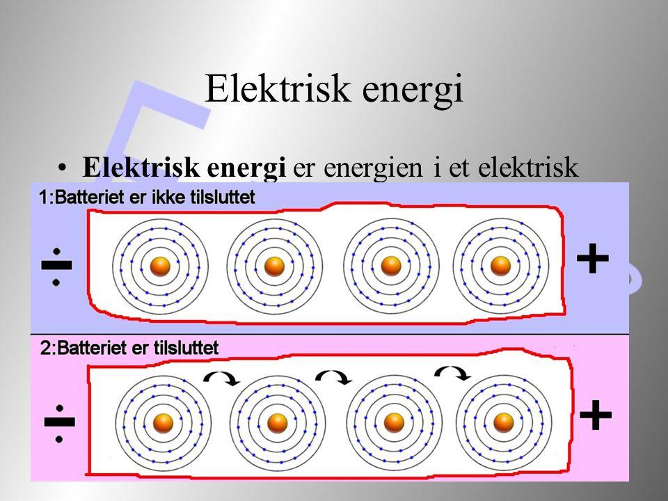 Elektrisk energi Elektrisk energi er energien i et elektrisk system, som ændres ved bevægelse af elektrisk ladning.