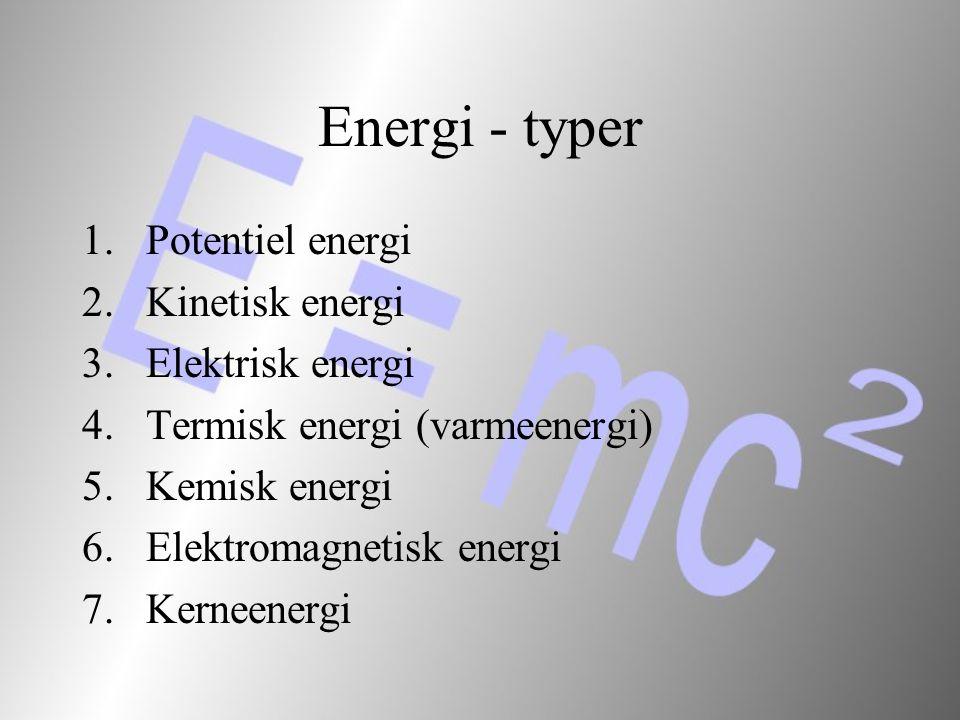 Energi - typer Potentiel energi Kinetisk energi Elektrisk energi