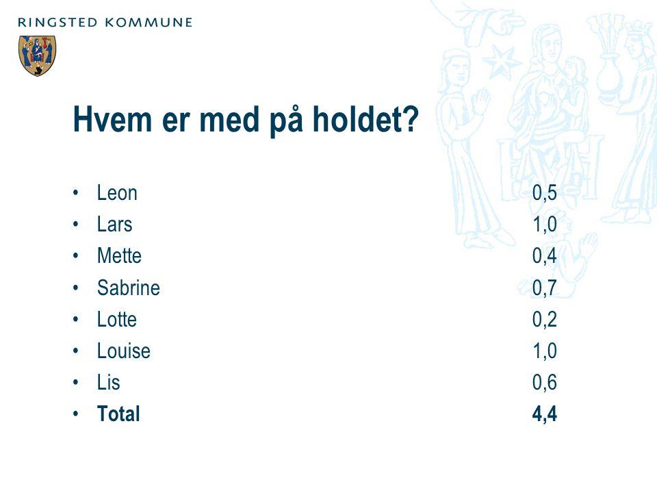 Hvem er med på holdet Leon 0,5 Lars 1,0 Mette 0,4 Sabrine 0,7