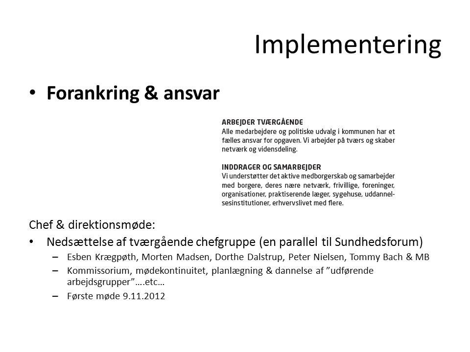 Implementering Forankring & ansvar Chef & direktionsmøde:
