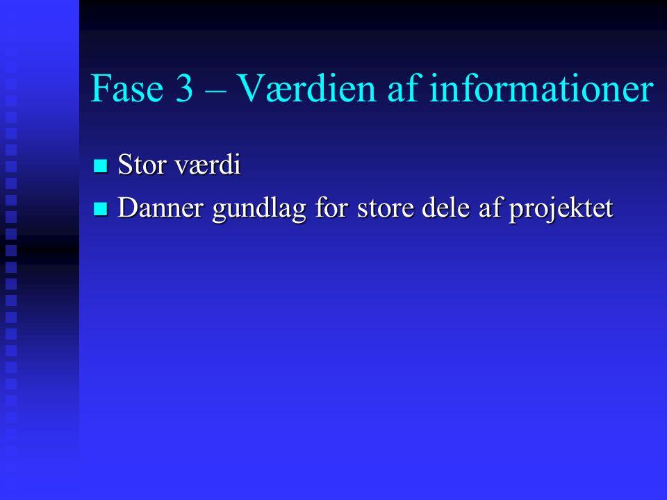 Fase 3 – Værdien af informationer