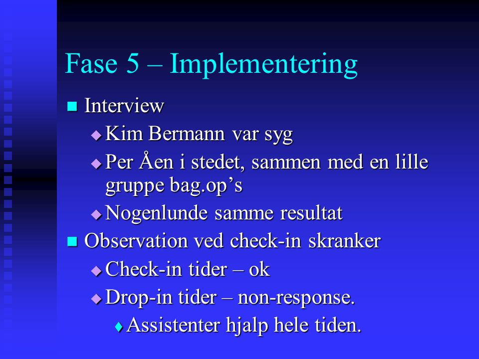 Fase 5 – Implementering Interview Kim Bermann var syg