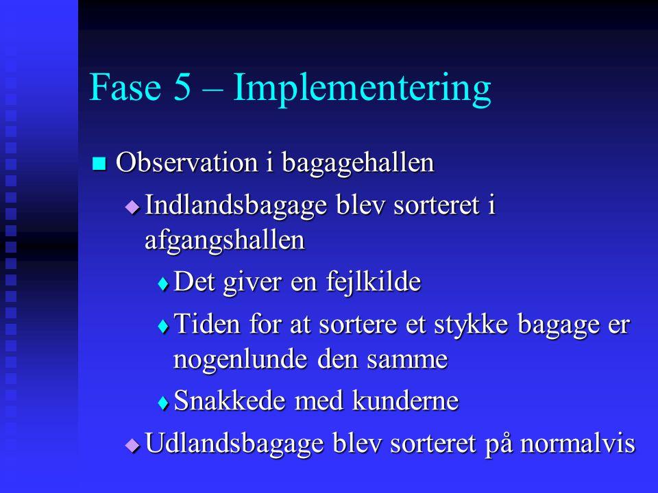Fase 5 – Implementering Observation i bagagehallen