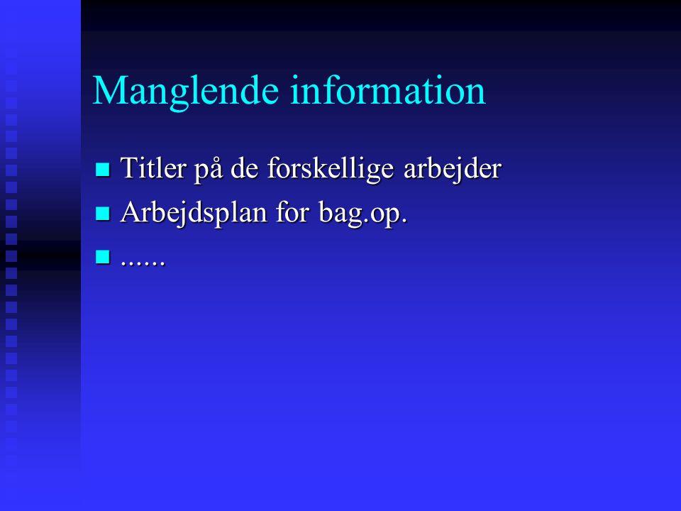Manglende information
