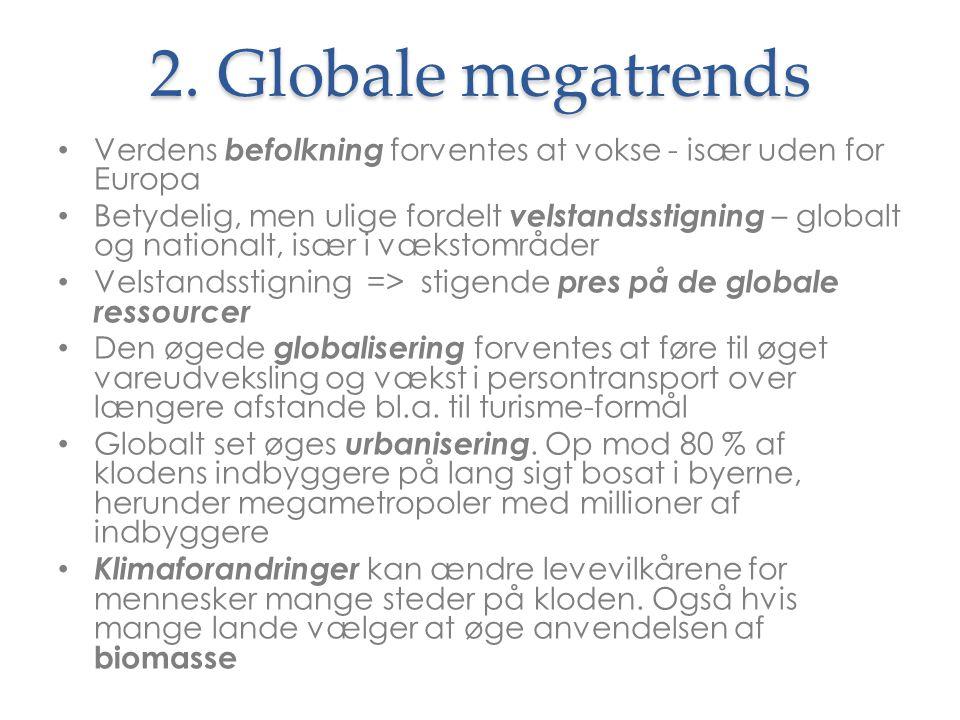 2. Globale megatrends Verdens befolkning forventes at vokse - især uden for Europa.