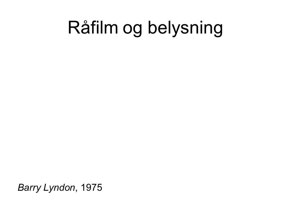 Råfilm og belysning Barry Lyndon, 1975