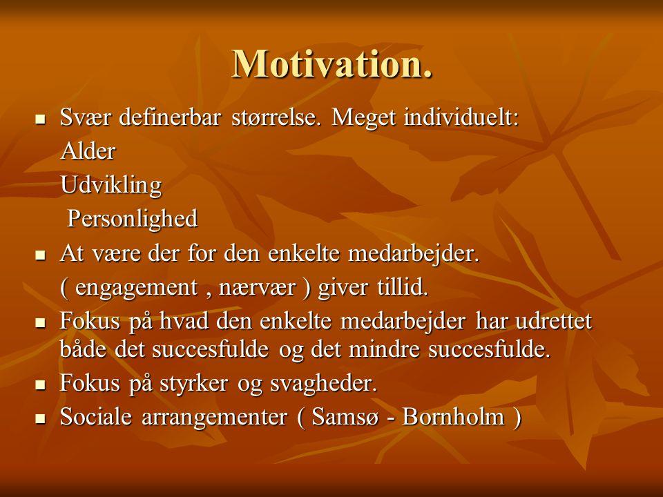 Motivation. Svær definerbar størrelse. Meget individuelt: Alder