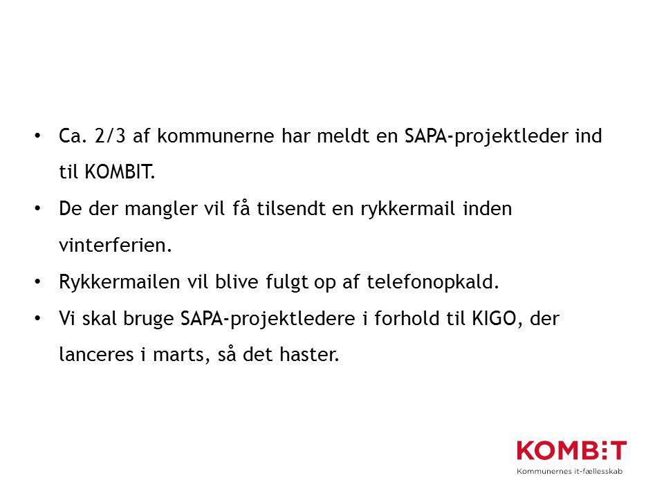 Ca. 2/3 af kommunerne har meldt en SAPA-projektleder ind til KOMBIT.