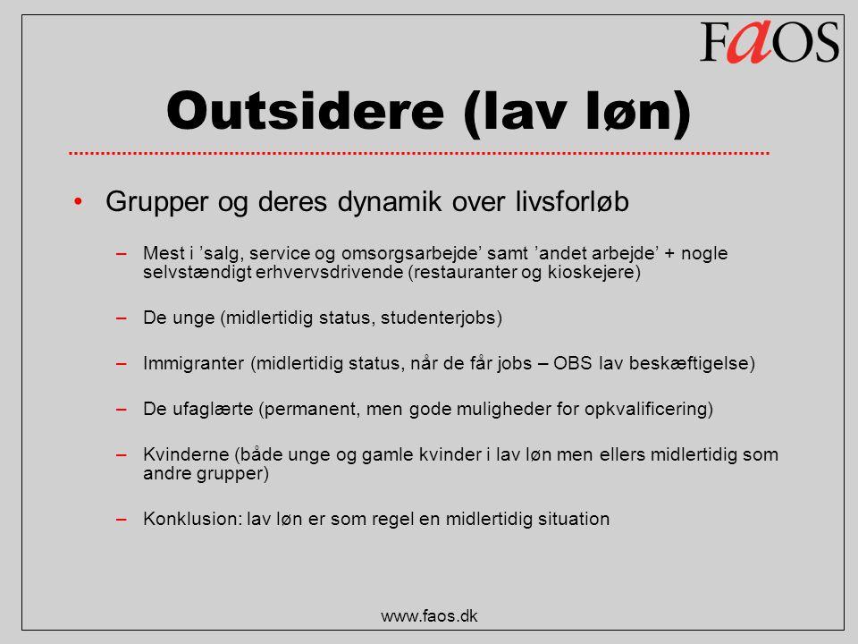 Outsidere (lav løn) Grupper og deres dynamik over livsforløb