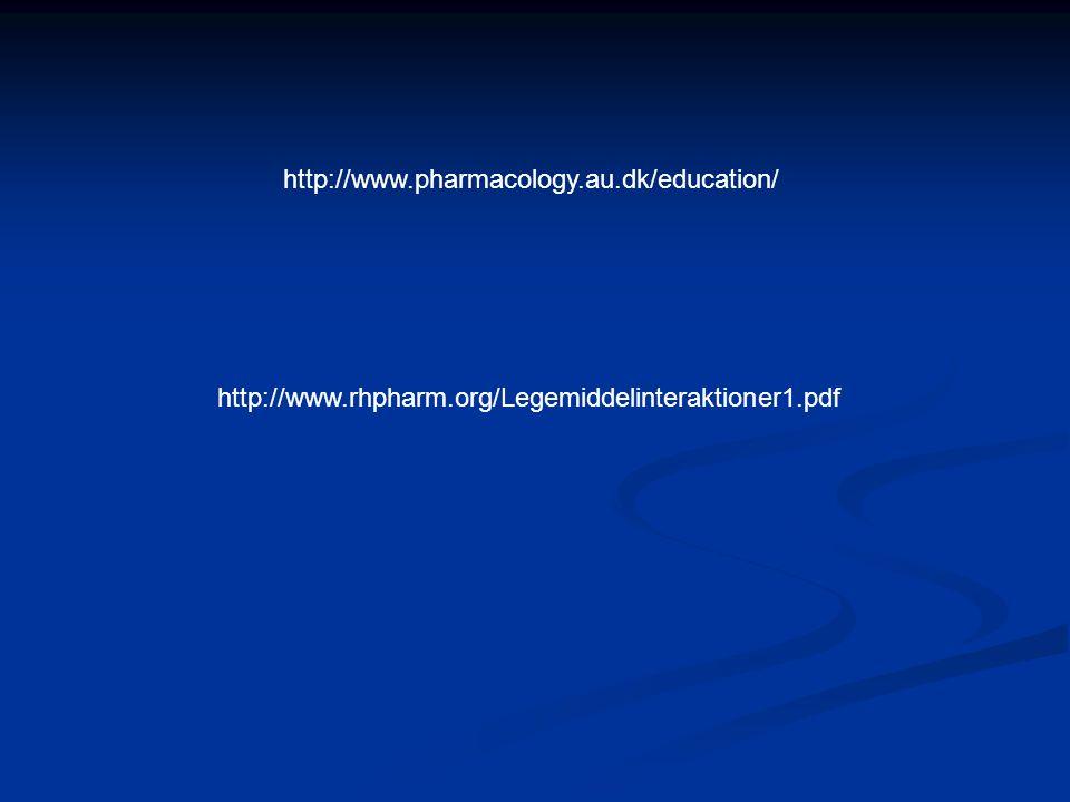 http://www.pharmacology.au.dk/education/ http://www.rhpharm.org/Legemiddelinteraktioner1.pdf