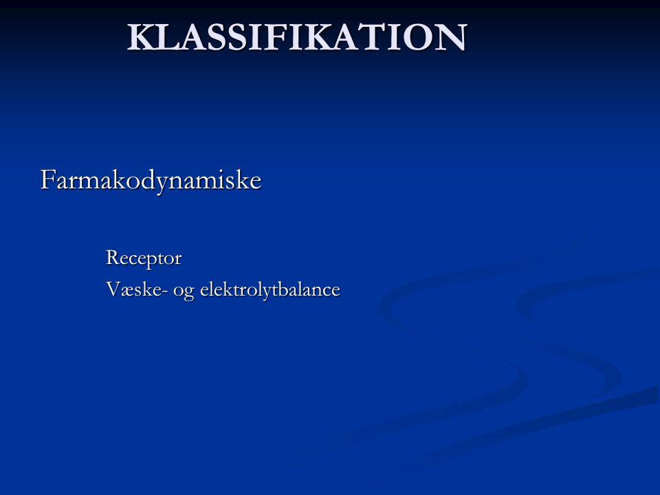 KLASSIFIKATION Farmakodynamiske Receptor Væske- og elektrolytbalance
