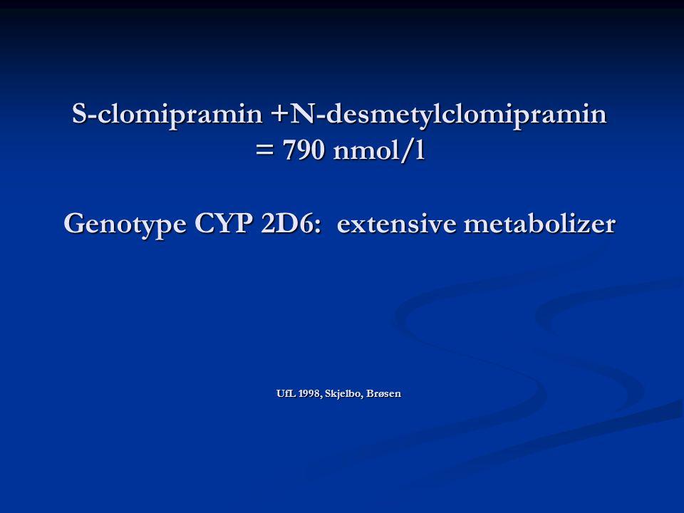 S-clomipramin +N-desmetylclomipramin = 790 nmol/l Genotype CYP 2D6: extensive metabolizer UfL 1998, Skjelbo, Brøsen