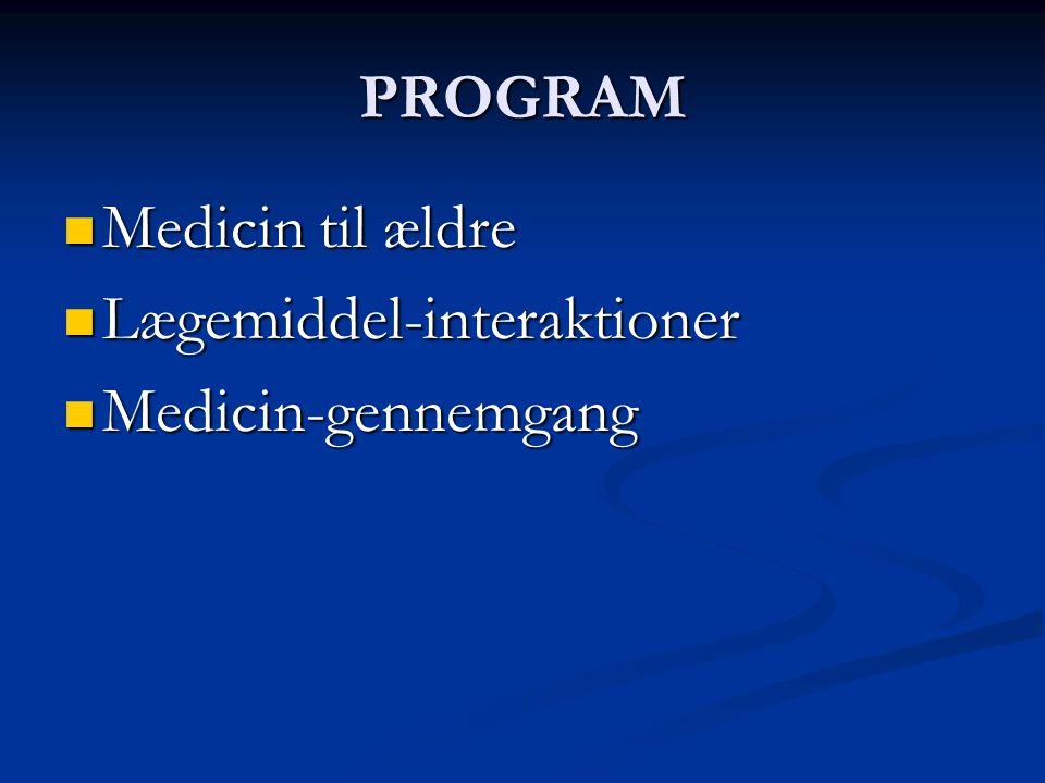 PROGRAM Medicin til ældre Lægemiddel-interaktioner Medicin-gennemgang