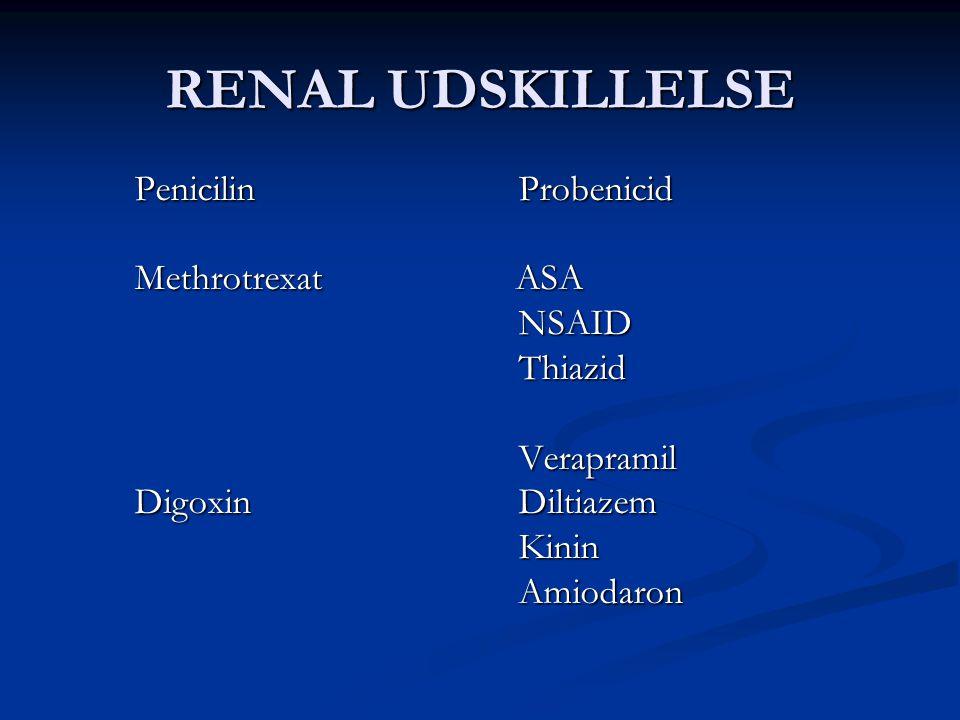 RENAL UDSKILLELSE Penicilin Probenicid Methrotrexat ASA NSAID Thiazid