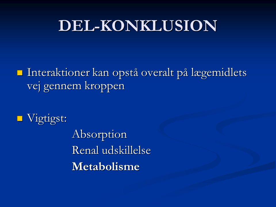 DEL-KONKLUSION Interaktioner kan opstå overalt på lægemidlets vej gennem kroppen. Vigtigst: Absorption.