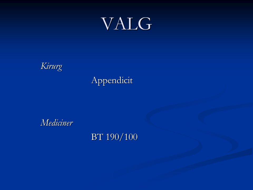 VALG Kirurg Appendicit Mediciner BT 190/100