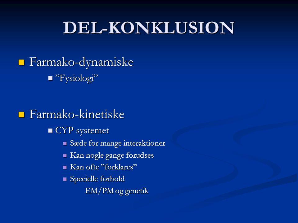 DEL-KONKLUSION Farmako-dynamiske Farmako-kinetiske Fysiologi