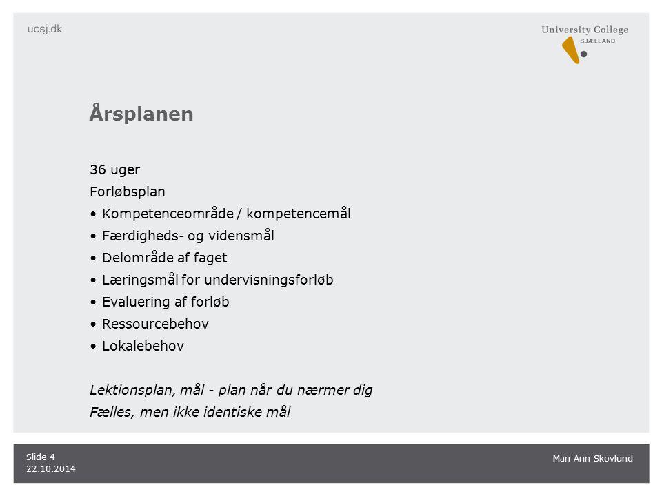 Årsplanen 36 uger Forløbsplan Kompetenceområde / kompetencemål