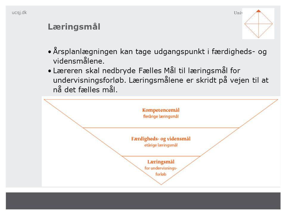Læringsmål Årsplanlægningen kan tage udgangspunkt i færdigheds- og vidensmålene.