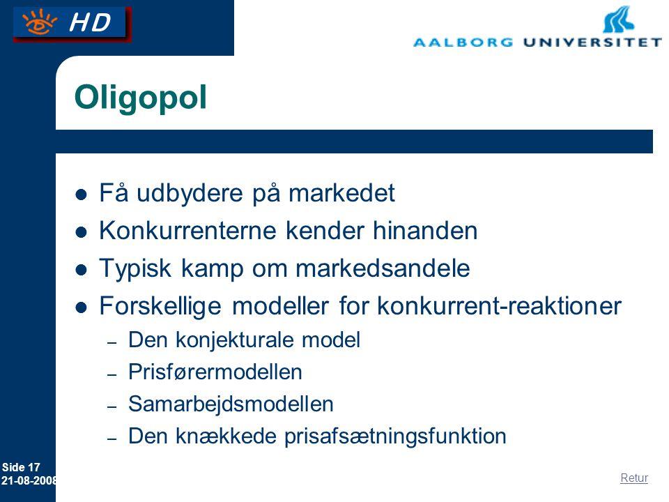Oligopol Få udbydere på markedet Konkurrenterne kender hinanden