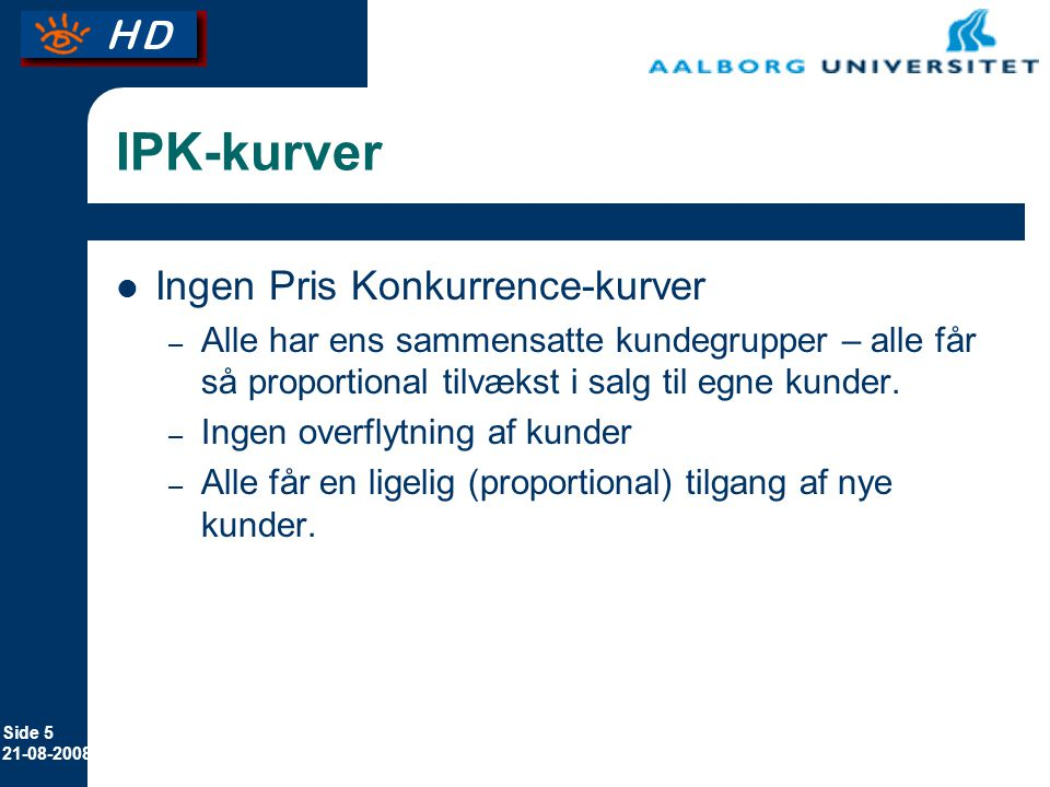 IPK-kurver Ingen Pris Konkurrence-kurver