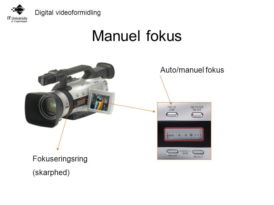 Manuel fokus Auto/manuel fokus Fokuseringsring (skarphed)