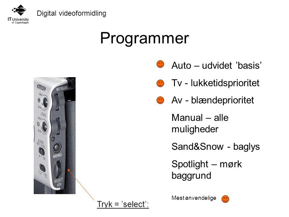 Programmer Auto – udvidet 'basis' Tv - lukketidsprioritet