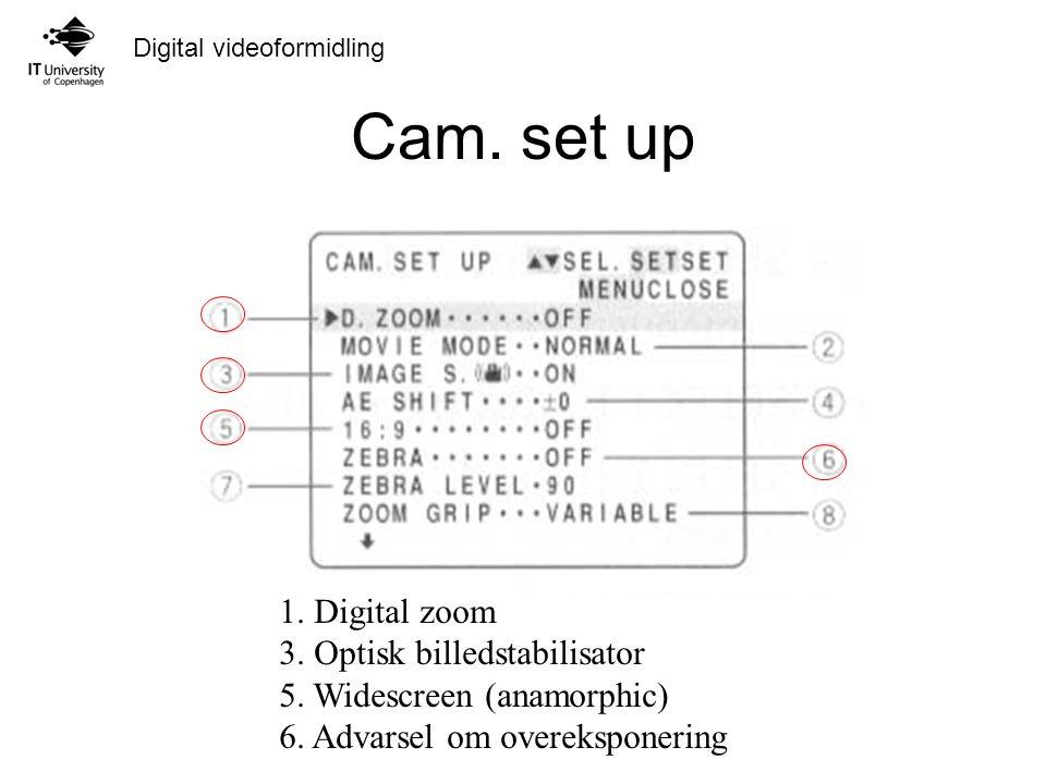 Cam. set up 1. Digital zoom 3. Optisk billedstabilisator
