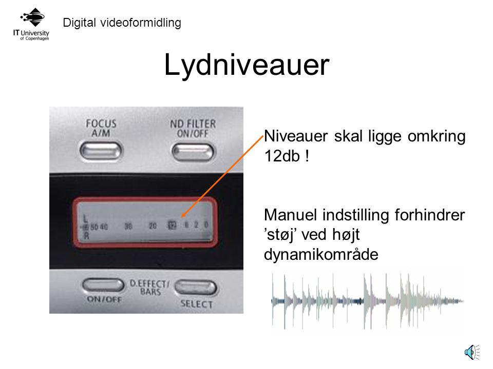 Lydniveauer Niveauer skal ligge omkring 12db !