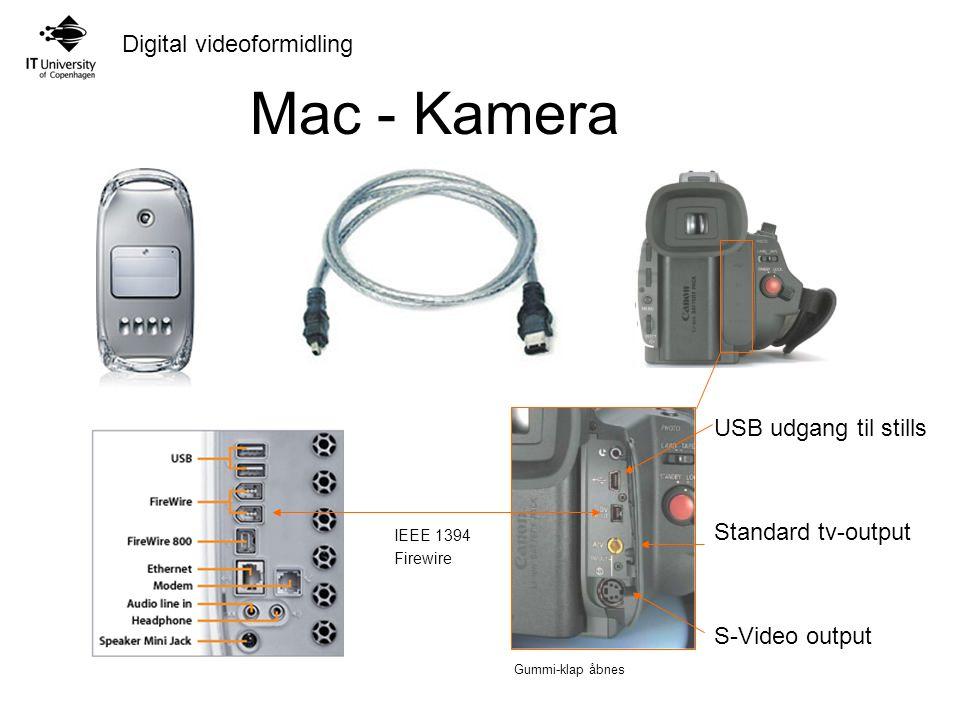Mac - Kamera USB udgang til stills Standard tv-output S-Video output