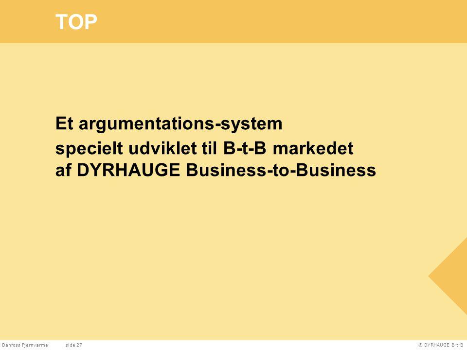 TOP Et argumentations-system specielt udviklet til B-t-B markedet